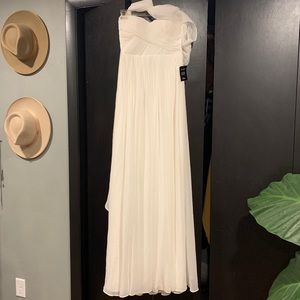Feel the Luxe WHITE Mesh Strapless Maxi Dress